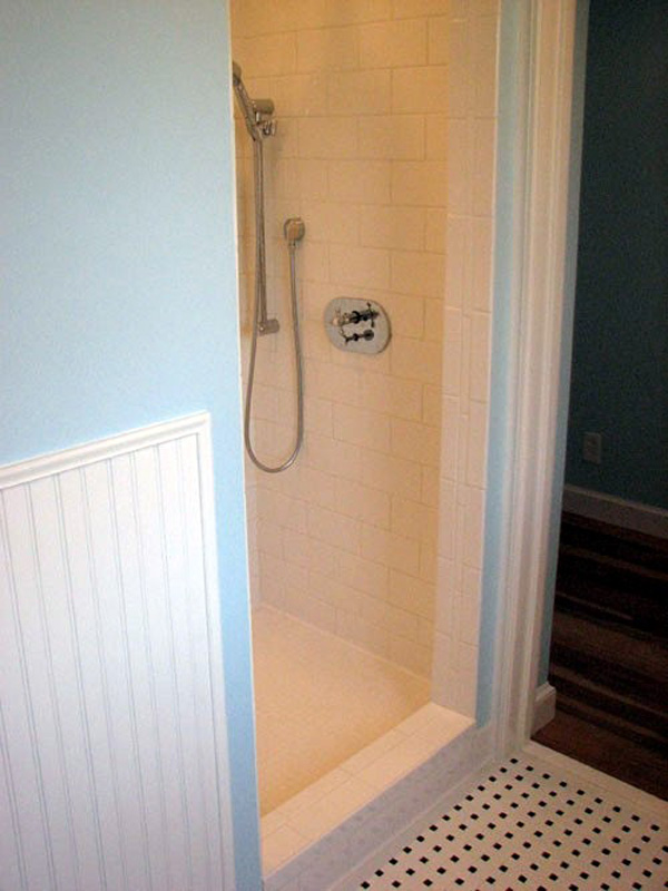 Custom Tile shower installation and fixtures.