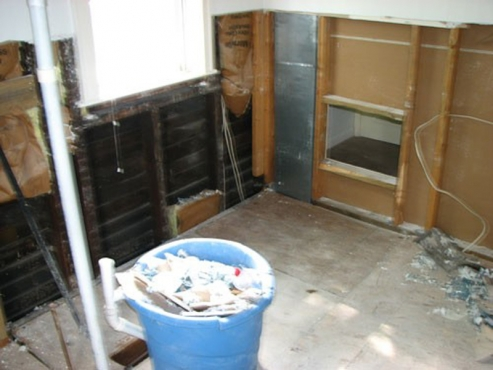 Bathroom Remodel after demolition in Cleveland Heights, Ohio