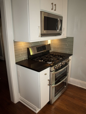 New stainless appliances round-out the Cleveland Heights kitchen overhaul.