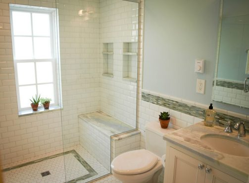 """Shower rated window with tile surround answer the question of """"what to do with that window"""" when considering a shower stall where one does not currently exist."""
