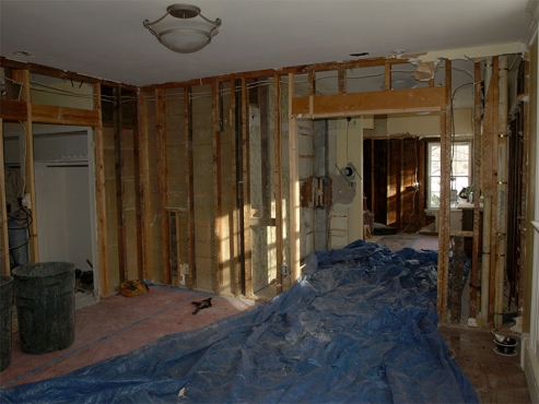 Completely gutted Shaker Heights kitchen. The Beard Group begins to install new plumbing, electrical and insulation.