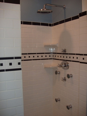 Remodeled Bathroom stand up shower with new tile and fixtures in Cleveland Hghts. OH