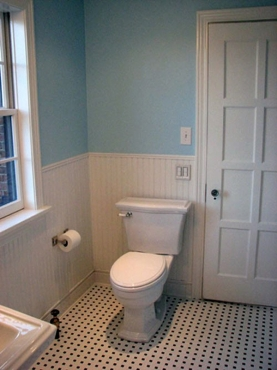 Custom wainscoting instal and new bathroom tile flooring in University Heights, OH