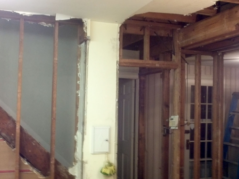 Staircase and two load bearing walls to be removed.