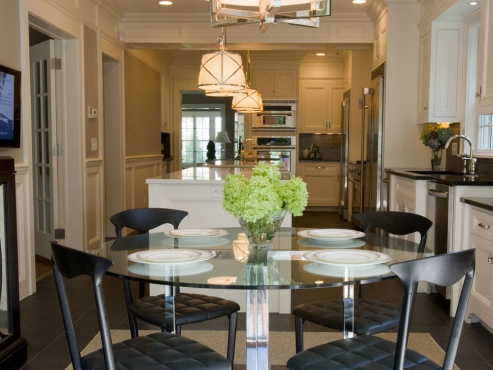 Fantastic Cleveland Heights kitchen viewed from exterior French doors leading to back yard.