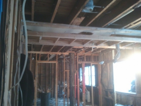 Load bearing wall exposed.