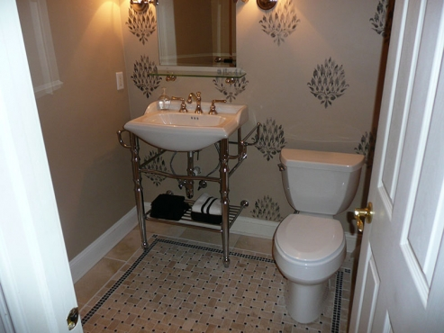 Custom Bathroom installation with modern tile flooring in Chagrin Falls Ohio