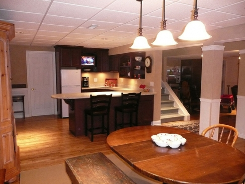 Basement Remodel with custom kitchen installation, Chagrin Falls, OH