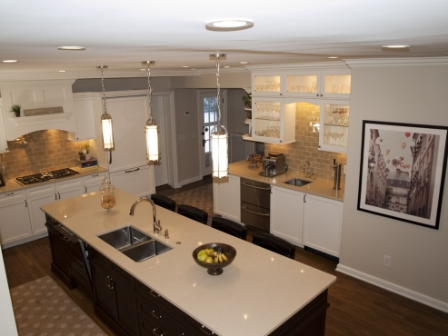 A beautiful kitchen for entertaining or breakfast for four seated at the island.