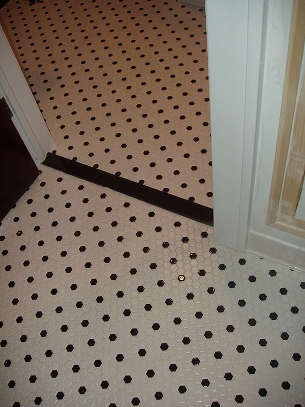 Custom tile floor installation.