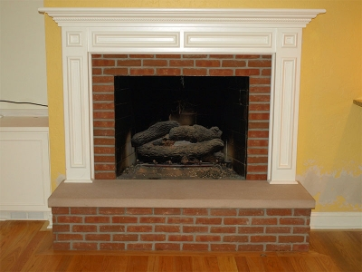This updated fireplace is great for relaxing and warming up on a chilly winter afternoon.