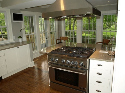 Updated commercial style stove and oven.