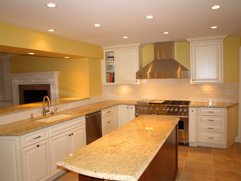 Custom granite counter tops and top of the line stainless steel appliances