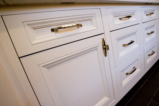 Lower cabinets with beautiful polished chrome hardware.