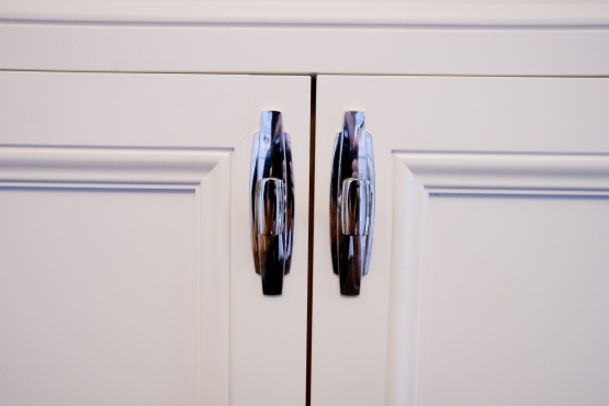 Close-up of lower cabinet pulls