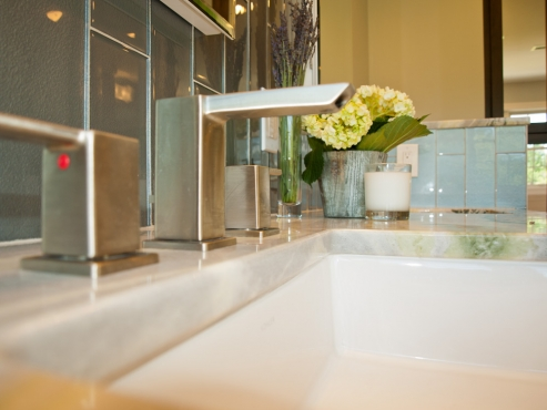 The brushed nickel Moen faucet works well with the overall contemporary scheme of the bathroom.