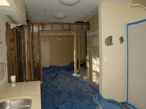 Making room for the new butler's pantry in this Shaker Heights Kitchen Remodel by The Beard Group.