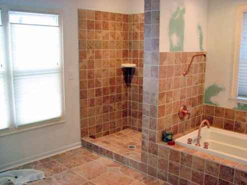 Cleveland Hghts, OH full scale bathroom renovation and remodel with custom tile shower and tub