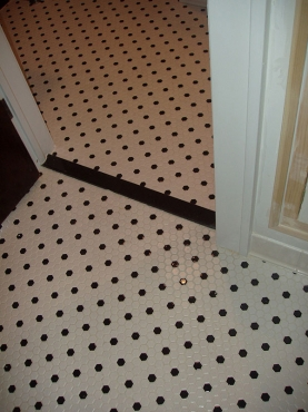 Remodeled Bath, Cleveland Heights, OH custom tile floor installation