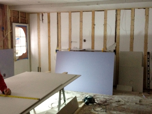 Insulation and drywall begins.