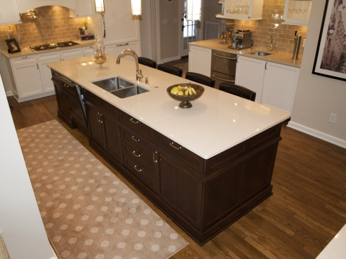 Massive Island with quartz counter top. Over ten feet long! Can you spot the second dishwasher in the island?